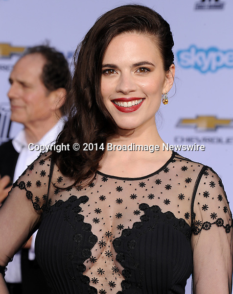 Pictured: Hayley Atwell<br /> Mandatory Credit &copy; Gilbert Flores/Broadimage<br /> Captain America: The Winter Soldier - Los Angeles Premiere<br /> <br /> 3/13/14, Hollywood, California, United States of America<br /> <br /> Broadimage Newswire<br /> Los Angeles 1+  (310) 301-1027<br /> New York      1+  (646) 827-9134<br /> sales@broadimage.com<br /> http://www.broadimage.com