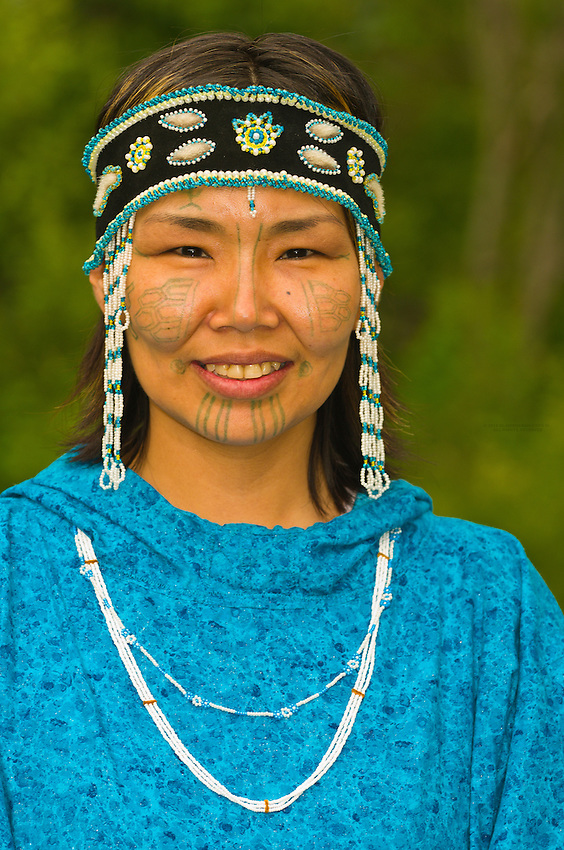 Yupik woman in native costume at the Alaska Native Heritage Center, Anchorage, Alaska