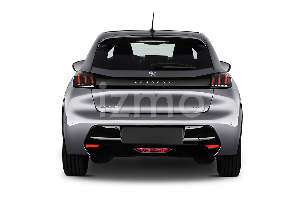 Straight rear view of 2020 Peugeot e-208 GT 5 Door Hatchback Rear View  stock images