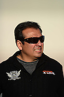 Oct. 27, 2012; Las Vegas, NV, USA: NHRA funny car driver Tony Pedregon during qualifying for the Big O Tires Nationals at The Strip in Las Vegas. Mandatory Credit: Mark J. Rebilas-