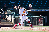 Surprise Saguaros second baseman Andy Young (29), of the St. Louis Cardinals organization, swings at a pitch during an Arizona Fall League game against the Salt River Rafters on October 9, 2018 at Surprise Stadium in Surprise, Arizona. Salt River defeated Surprise 10-8. (Zachary Lucy/Four Seam Images)