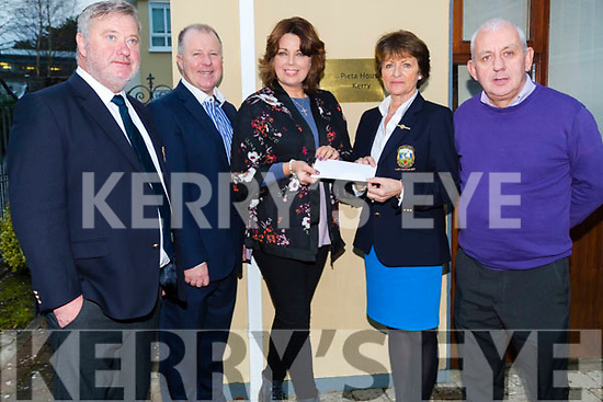 A cheque was p[resented to Pieta House,Tralee on Monday from Lady Capt Tralee Golf Club, Margaret Murphy L-r: John Reen (capt),Con O'Connor (organiser Golf Charity Tourement) Maureen Curtin (Pieta House), Margaret Murphy (Lady Capt) and John Togher(Pieta House)