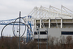 Middlesbrough 1 Preston North End 1, 22/01/2011. Riverside Stadium, Championship. Middlesbrough FC's Riverside Stadium pictured with the town historic Transporter Bridge and sculptor Anish Kapoor's public art entitled Temenos on the day the club played host to Preston North End in an Npower Championship fixture. The match ended in a one-all draw watched by a crowd of 16,157. Middlesbrough relocated from their former home at Ayresome Park in 1995. Photo by Colin McPherson.
