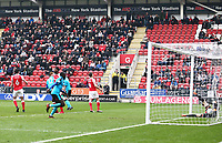 Cian Bolger of Fleetwood Town scores his sides second goal during the Sky Bet League 1 match between Rotherham United and Fleetwood Town at the New York Stadium, Rotherham, England on 7 April 2018. Photo by Leila Coker.