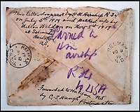 BNPS.co.uk (01202 558833)<br /> Pic:  PeterWilson/BNPS<br /> <br /> The envelope which contained the letter which was carried on the airship.<br /> <br /> A charming letter which was carried on the first airship to cross the Atlantic has come to light 100 years later.<br /> <br /> Reverend George Jones, who was stationed at the Royal Naval Air Station East Fortune near Edinburgh, wanted to surprise his sister Donie by sending her a letter from America.<br /> <br /> So he gave the letter to one of the crew of airship R34 ahead of the historic flight on July 2, 1919, and asked him to post it to Donie from New York.<br /> <br /> He obliged and the letter reached its final destination in Bournemouth, Dorset, several months later as it made the return journey via ship.