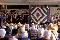 Amish traditional quilt auction. Strasburg Pennsylvania USA Lancaster County.