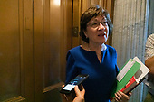 United States Senator Susan Collins (Republican of Maine) speaks to reporters after leaving the Senate floor on Capitol Hill in Washington D.C. on June 12, 2019.<br /> <br /> Credit: Stefani Reynolds / CNP