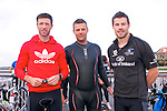 Aodh Curran (Ballyferriter), Lorcan Slattery (Dun Chaoin) amd Ciaran Slattery (Ballyferriter) at the start of the Dingle Triathlon on Saturday morning.
