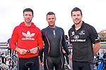 Aodh Curran (Ballyferriter), Lorcan Slattery (Dun Chaoin) amd Ciaran Slattery (Ballyferriter) at the start of the Dingle Triathlon on Saturday morning.