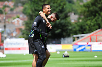 Bersant Celina and Yan Dhanda  of Swansea City during the pre season friendly match between Exeter City and Swansea City at St James Park in Exeter, England, UK. Saturday, 20 July 2019