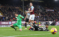 Burnley's Chris Wood has an attempt at goal<br /> <br /> Photographer Rachel Holborn/CameraSport<br /> <br /> The Premier League - Burnley v Newcastle United - Monday 26th November 2018 - Turf Moor - Burnley<br /> <br /> World Copyright &copy; 2018 CameraSport. All rights reserved. 43 Linden Ave. Countesthorpe. Leicester. England. LE8 5PG - Tel: +44 (0) 116 277 4147 - admin@camerasport.com - www.camerasport.com