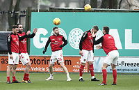 Fleetwood Town players during the pre-match warm-up <br /> <br /> Photographer Rich Linley/CameraSport<br /> <br /> The EFL Sky Bet League One - Fleetwood Town v Oxford United - Saturday 12th January 2019 - Highbury Stadium - Fleetwood<br /> <br /> World Copyright &copy; 2019 CameraSport. All rights reserved. 43 Linden Ave. Countesthorpe. Leicester. England. LE8 5PG - Tel: +44 (0) 116 277 4147 - admin@camerasport.com - www.camerasport.com