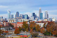 View of the Charlotte, North Carolina skyline in the autumn of 2017