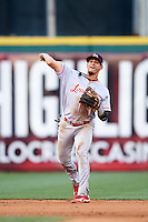 Louisville Bats shortstop Juan Perez (4) throws to first during a game against the Buffalo Bisons on June 20, 2016 at Coca-Cola Field in Buffalo, New York.  Louisville defeated Buffalo 4-1.  (Mike Janes/Four Seam Images)