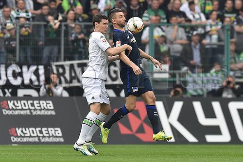 03.04.2016. Monchengladbach, Germany.  Bundesliga Football. Borussia Monchengladbach versus Hertha Berlin.  Andreas Christensen Moenchengladbach left Vedad Ibisevic Berlin right
