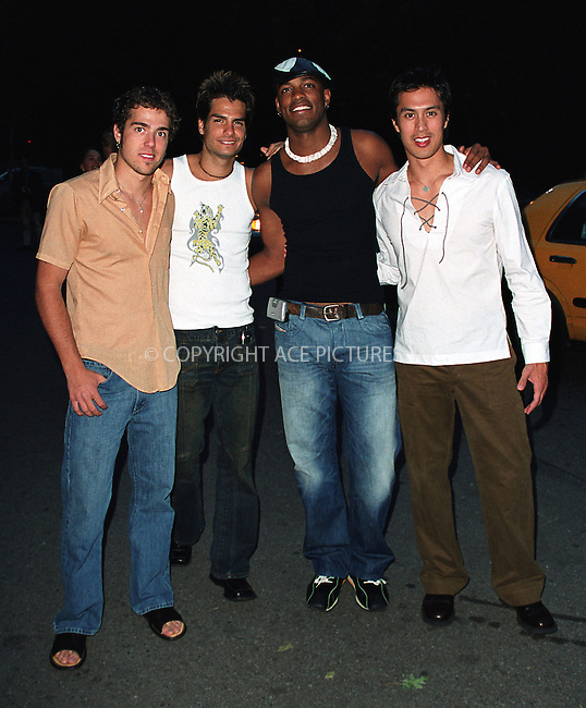 Boy band LMNT attend amfAR's 11th Annual Boathouse Rock event at Tavern on the Green. New York, June 17, 2002. Please byline: Alecsey Boldeskul/NY Photo Press.   ..*PAY-PER-USE*      ....NY Photo Press:  ..phone (646) 267-6913;   ..e-mail: info@nyphotopress.com