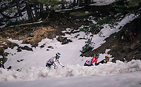 Jasper de Buyst (BEL/Lotto-Soudal) &amp; Juraj Sagan (SVK/BORA-hansgrohe) peering through the snow<br /> <br /> 76th Paris-Nice 2018<br /> stage 6: Sisteron &gt; Vence (198km)
