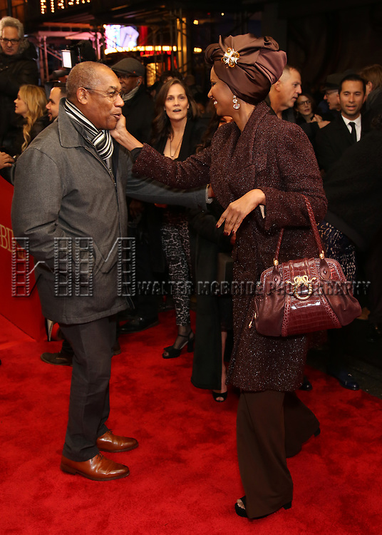 """Joe Morton and Iman attends the Broadway Opening Night Performance of """"To Kill A Mockingbird"""" on December 13, 2018 at The Shubert Theatre in New York City."""