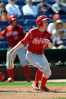 Reading Phillies infielder Cody Asche #10 during a game versus the Portland Sea Dogs at Hadlock Field in Portland, Maine on September 3, 2012.  (Ken Babbitt/Four Seam Images)