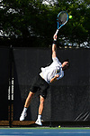 WINSTON SALEM, NC - MAY 22: Ian Dempster of the Wake Forest Demon Deacons serves against the Ohio State Buckeyes during the Division I Men's Tennis Championship held at the Wake Forest Tennis Center on the Wake Forest University campus on May 22, 2018 in Winston Salem, North Carolina. Wake Forest defeated Ohio State 4-2 for the national title. (Photo by Jamie Schwaberow/NCAA Photos via Getty Images)