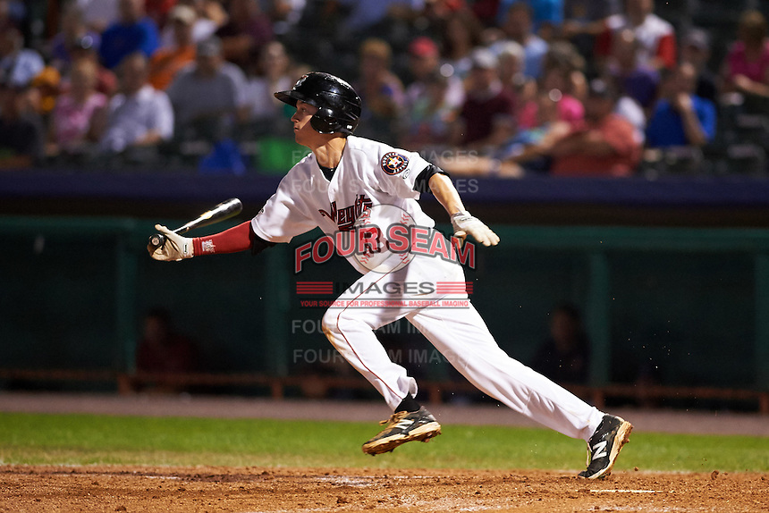 Tri-City ValleyCats outfielder Johnny Sewald (33) at bat during a game against the Brooklyn Cyclones on September 1, 2015 at Joseph L. Bruno Stadium in Troy, New York.  Tri-City defeated Brooklyn 5-4.  (Mike Janes/Four Seam Images)
