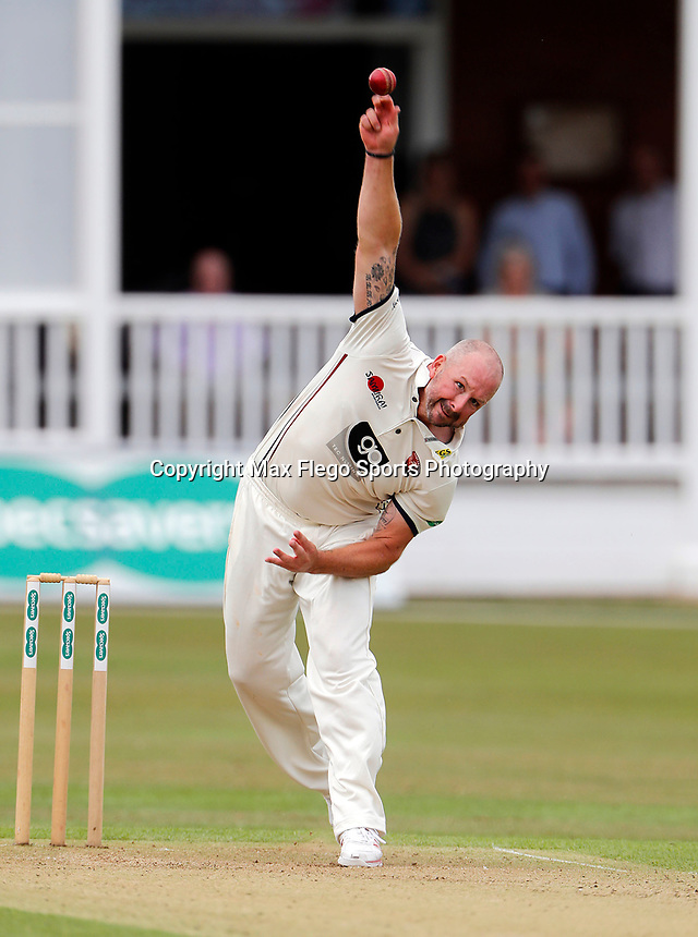 Darren Stevens bowls for Kent during the County Championship Division 2 game between Kent and Leicestershire at the St Lawrence ground, Canterbury, on Sun July 22, 2018