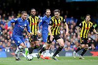 Eden Hazard of Chelsea takes on the Watford defence during Chelsea vs Watford, Premier League Football at Stamford Bridge on 5th May 2019