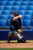 Lakeland Flying Tigers catcher Austin Athmann (19) points to the first base umpire on a check swing during a game against the Dunedin Blue Jays on May 27, 2018 at Dunedin Stadium in Dunedin, Florida.  Lakeland defeated Dunedin 2-1.  (Mike Janes/Four Seam Images)