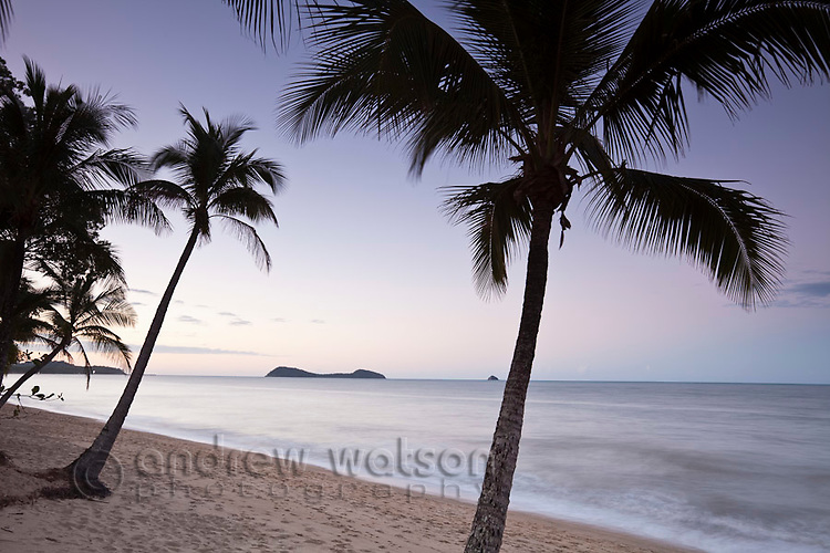 Clifton Beach at dawn with Double Island in background.  Palm Cove, Cairns, Queensland, Australia