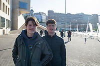 Lucas and Felix outside the Guggenhiem Museum. New Years with the Angulos, Bilbao, Basque Country, Spain