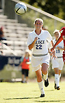 Kate Seibert, of Duke, chases after the ball on Sunday, October 16th, 2005 at Duke University's Koskinen Stadium in Durham, North Carolina. The Duke University Blue Devils defeated the University of Maryland Terrapins 1-0 during an NCAA Division I Women's Soccer game.
