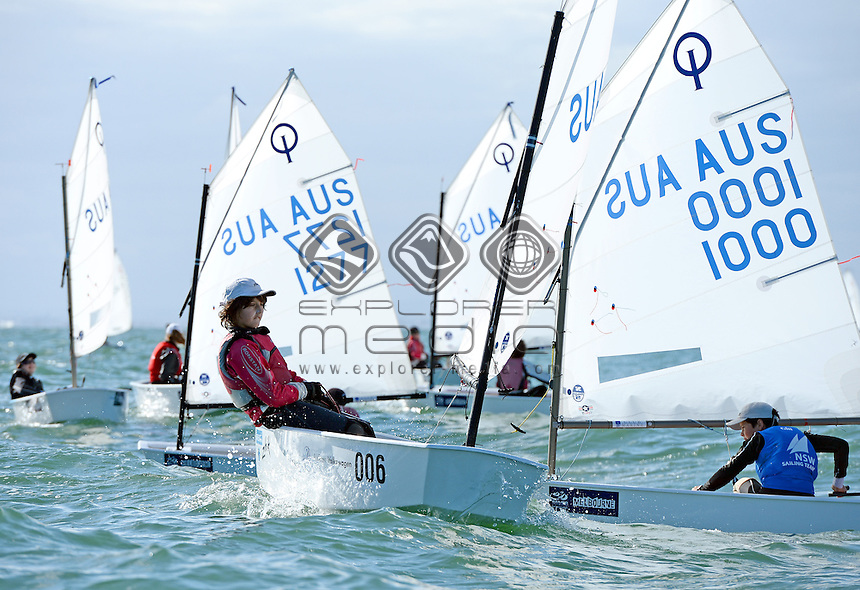 Optimist / Jarred PAYNE (AUS)<br /> 2013 ISAF Sailing World Cup - Melbourne<br /> Sail Melbourne - The Asia Pacific Regatta<br /> Sandringham Yacht Club, Victoria<br /> December 1st - 8th 2013<br /> &copy; Sport the library / Jeff Crow
