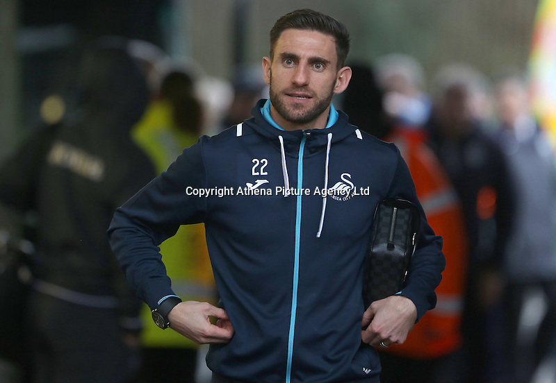 Àngel Rangel of Swansea City prior to kick off of the Premier League match between Swansea City and Leicester City at The Liberty Stadium, Swansea, Wales, UK. Sunday 12 February 2017