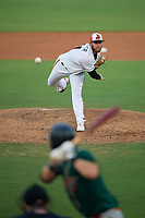 Delmarva Shorebirds starting pitcher Gray Fenter (21) during a South Atlantic League game against the Greensboro Grasshoppers on August 21, 2019 at Arthur W. Perdue Stadium in Salisbury, Maryland.  Delmarva defeated Greensboro 1-0.  (Mike Janes/Four Seam Images)