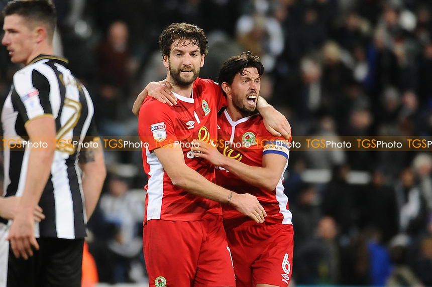 Charlie Mulgrew of Blackburn Rovers and Jason Lowe of Blackburn Rovers celebrate at the final whistle during Newcastle United vs Blackburn Rovers, Sky Bet EFL Championship Football at St. James' Park on 26th November 2016