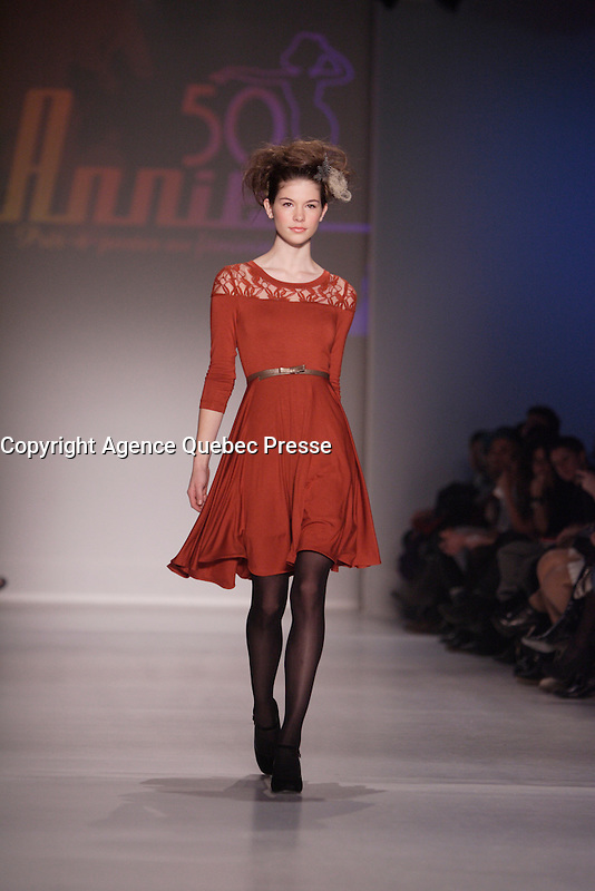 Montreal (QC) CANADA -February 2012 File Photo -Montreal Fashion Week - Annie 50