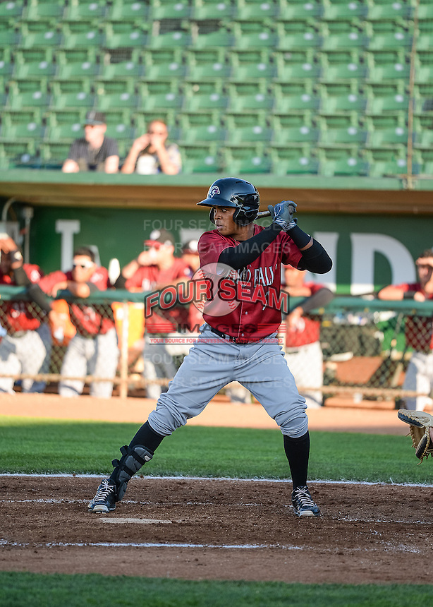 Luis Valenzuela (3) of the Idaho Falls Chukars at bat against the Ogden Raptors in Pioneer League action at Lindquist Field on June 23, 2015 in Ogden, Utah. Idaho Falls beat the Raptors 9-6. (Stephen Smith/Four Seam Images)