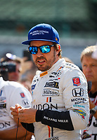 May 26, 2017; Indianapolis, IN, USA; IndyCar Series driver Fernando Alonso during Carb Day for the 101st Running of the Indianapolis 500 at Indianapolis Motor Speedway. Mandatory Credit: Mark J. Rebilas-USA TODAY Sports