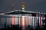 Mackinac Bridge, night reflections2