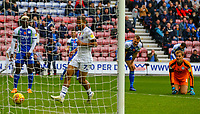 Leeds United's Kemar Roofe taps in a goal after Wigan Athletic's Christian Walton fumbled<br /> <br /> Photographer Alex Dodd/CameraSport<br /> <br /> The EFL Sky Bet Championship - Wigan Athletic v Leeds United - Sunday 4th November 2018 - DW Stadium - Wigan<br /> <br /> World Copyright &copy; 2018 CameraSport. All rights reserved. 43 Linden Ave. Countesthorpe. Leicester. England. LE8 5PG - Tel: +44 (0) 116 277 4147 - admin@camerasport.com - www.camerasport.com