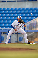 Dunedin Blue Jays first baseman Matt Dean (8) during a game against the St. Lucie Mets on April 19, 2017 at Florida Auto Exchange Stadium in Dunedin, Florida.  Dunedin defeated St. Lucie 9-1.  (Mike Janes/Four Seam Images)