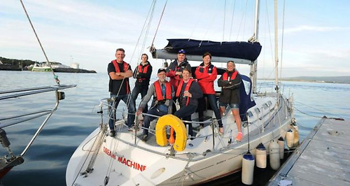 Garry Crothers (third left) with the crew with whom he sailed from Greencastle in Donegal