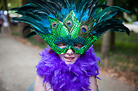 Boy Wearing Peacock Headpiece, Arts A Glow Festival 2017, Dottie Harper Park, Burien, WA, USA.