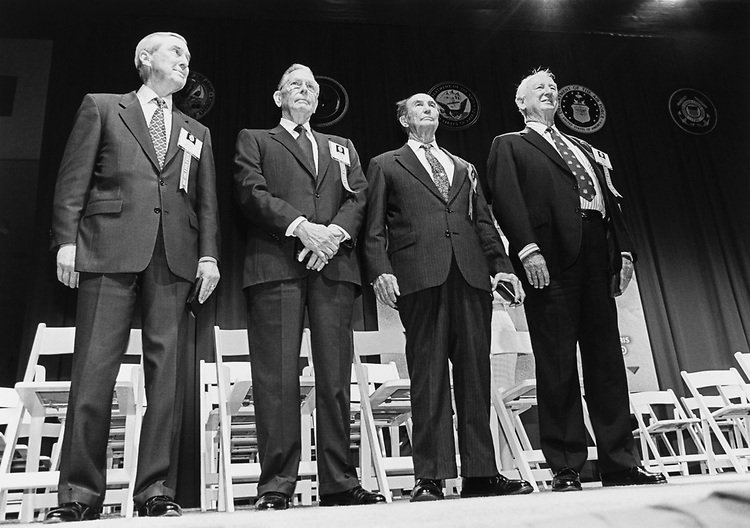 Former Sen. Lloyd Bentsen, D-Tex., Rep. Tom Bevill, D-Ala., Sen. Strom Thurmond, R-S.C. and Rep. Sam Gibbons, D-Fla. having received their medals and being honored for their WW2 service. May 18, 1994. (Photo by Maureen Keating/CQ Roll Call)