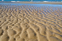 Waves and wind have created patterns in the sand at Sand Beach in Pictured Rocks National Lakeshore in Alger County, Michigan
