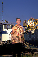 Chairman and CEO of Hawaii sugar, real estate and transportation conglomerate Alexander & Baldwin poses at Kahului Harbor on Maui. Matson shipping is a subsidiary of A&B and has named its largest ship  the Robert J. Pfeiffer after the late chairman.