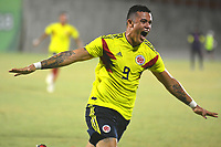 BARRANQUILLA - COLOMBIA, 31-07-2018:Leonardo Castro jugador de Colombia celebra su gol contra Venezuela.Colombia ganó la medalla de oro en fútbol al vencer a Venezuela dos goles por uno en el estadio Romelio Martínez.Juegos Centroamericanos y del Caribe Barranquilla 2018. /Leonardo Castro celebrates his goal agaisnt Venezuela. Colombia won the gold medal by winning Venezuela two goals for one at the Romelio Martínez stadium during the American and Caribbean Sports Games Barranquilla 2018. Photo: VizzorImage /  Alfonso Cervantes /Contribuidor