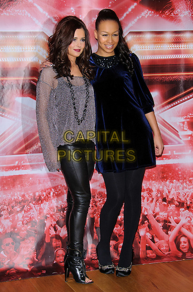CHERYL. COLE & REBECCA FERGUSON .X Factor photocall and press conference, the Connaught Hotel, London, England, UK, .9th December 2010..full length navy blue velvet dress black tights shoes grey gray silver glittery top pvc leggings trousers leather ankle boots open toe heels necklace lurex glittery .CAP/CJ.©Chris Joseph/Capital Pictures.