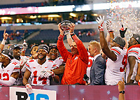 Ohio State Buckeyes head coach Urban Meyer and the Buckeyes win the Big Ten Championship game at the Lucas Oil Stadium in Indianapolis, Ind on December 2, 2017.  [Kyle Robertson/Dispatch]