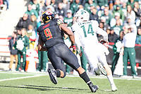College Park, MD - November 3, 2018:  Maryland Terrapins defensive lineman Byron Cowart (9) chases Michigan State Spartans quarterback Brian Lewerke (14) during the game between Michigan St. and Maryland at  Capital One Field at Maryland Stadium in College Park, MD.  (Photo by Elliott Brown/Media Images International)